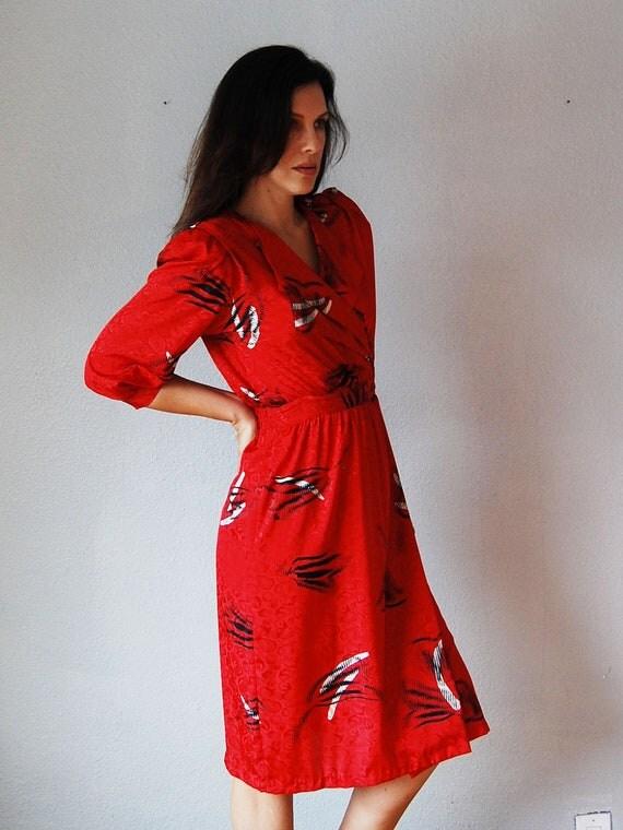 vintage WRAP dress /  1980s Jonathon Martin print satin office dress