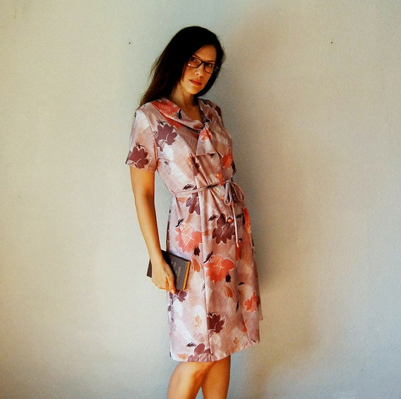 vintage ASCOT BOW dress / 1960s autumn floral print office dress