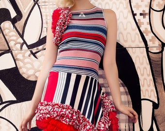 Japanese Fashion Harajuku Decora Girl KPop Kawaii Vintage Nautical Sailor Knit Dress with Red & White Striped Ruffles by Janice Louise Mille