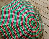 Vintage Umbrella Plaid Red and Green with Lucite Handle