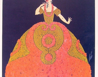 Erte Print - Opera Costumes Erte Theatrical Costumes - 2 Sided Book Page - 1979 Full Color Illustration