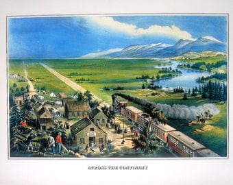 Across the Continent - Currier and Ives - 1978 Large Vintage Book Plate