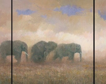 Original Elephant Painting, Dust Riders