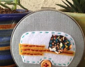 Camper Travel Trailer in a Vintage Embroidery Hoop - Felt and Fabric