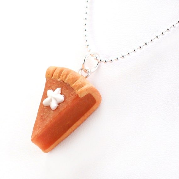 Food Jewelry Scented Pumpkin Pie Necklace kawaii Polymer Clay Pendant Gift, Present