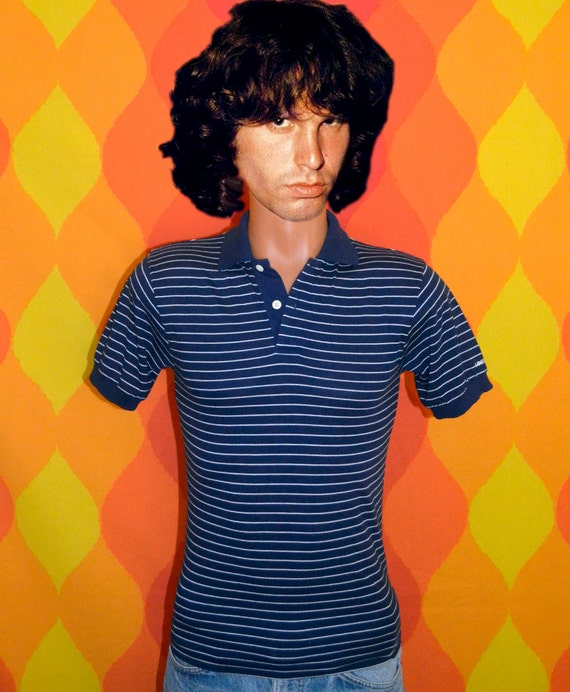 vintage 80s polo LEVI'S striped golf shirt navy preppy Small