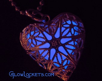 Glow Locket Violet Silver Heart