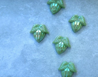 12mmx12mm Faceted Mint Green AB West German Glass Acorns and Leaves