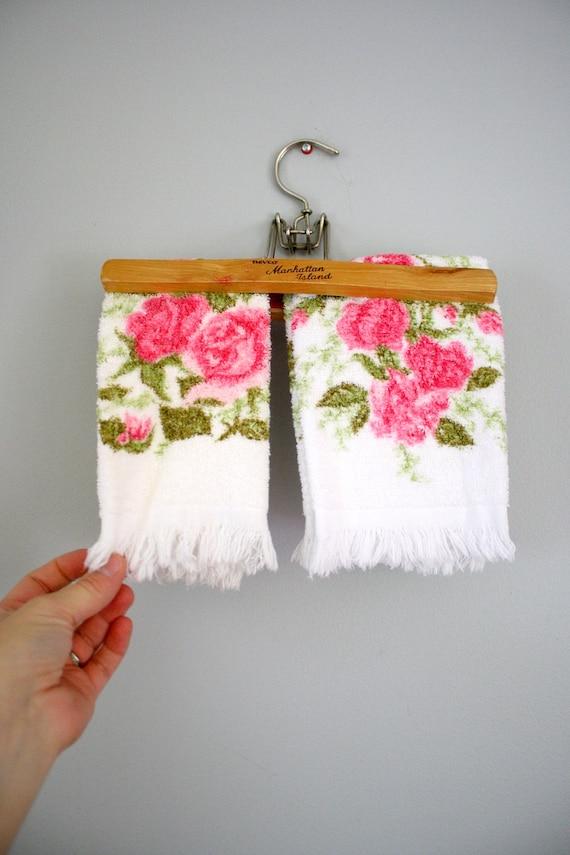 2 Vintage Rose Print Hand Towels Bath Towels by oldgrowth