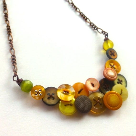 Gold, Peach, Olive, Brown Necklace with Small Vintage Buttons