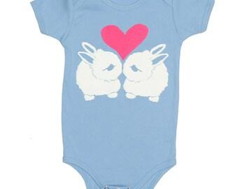 Bunny Love - Baby One Piece Bodysuit Romper Rabbit Bunnies Heart Cute Adorable Love Friends Jumper Baby Blue Onesie