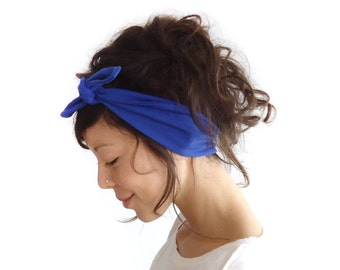 Tie Up Headscarf Electric Blue