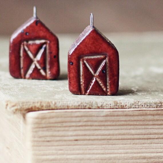 SALE- Little red Barn- handmade ceramic charm- ONE