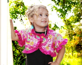 Ruffled Girls Bolero Pattern -- sizes 12 months- 12 girls PDF Instant