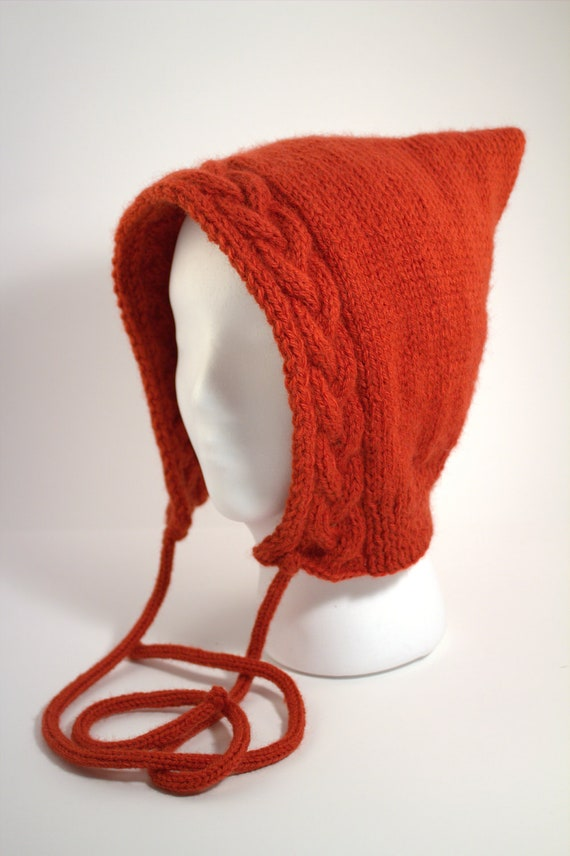 Cable Knit Hood in Orange - Free Shipping