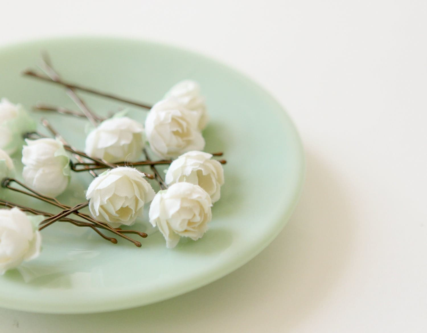 Hair Pins : White rose bobby pins Flower hair clips Bridal by whichgoose