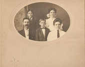 Fancy CABINET PHOTO - a Handsome Family of five - Ma Pa snd the kids - they all look alike - Dr E and Mrs Ellis and Family