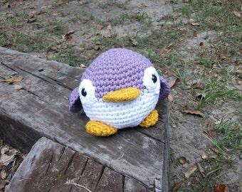 Lori the Lavender Plush Penguin. Stuffed Toy Animal Penguin.Roly Poly Plush Penguin. Amigurumi Animal Penguin. Kawaii Crochet Penguin.