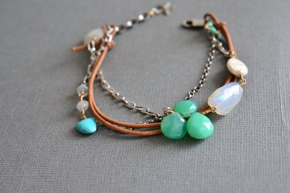 RESERVED for Maria. Sleeping Beauty Turquoise Moonstone & Chrysoprase Sterling Silver Leather Bracelet