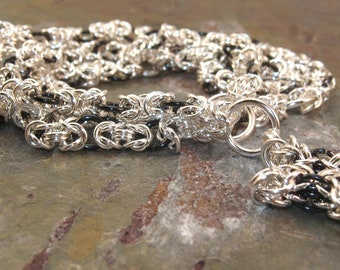Chainmaille Rosary Sterling Silver Segmented Byzantine