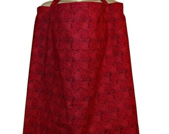 Breast Feeding Nursing Cover Up Red Cranberry Dots Circles Modest Private Boning Apron- Shawl