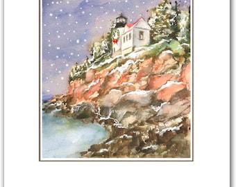 Bass harbor head Lighthouse, Maine lighthouse. 10 per box. boxed Christmas cards. Holiday lighthouse. Maine Christmas cards.