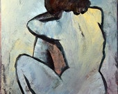 Blue Nude -- Picasso reproduction 16x20 acrylic and oil on canvas