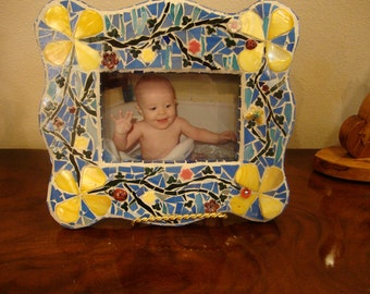 Blue and Yellow Mosaic picture Frame Gifts Under 50 Dollars