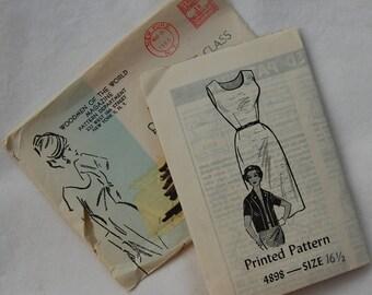 "1960s vintage original sewing pattern dress and jacket bust 37"""