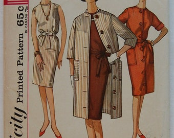 """1960s vintage original Simplicity 4845 sewing pattern for dress and coat Bust 34"""""""