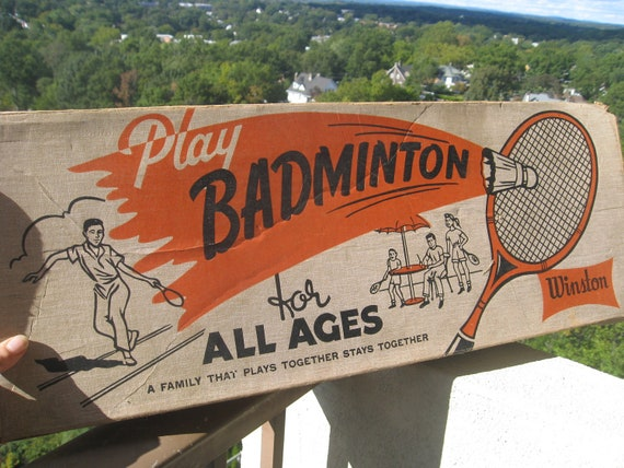 Vintage Badminton Game by Winston - Includes 5 rackets, 2 Birdies (or Shuttlecocks), Original Net and Original Box