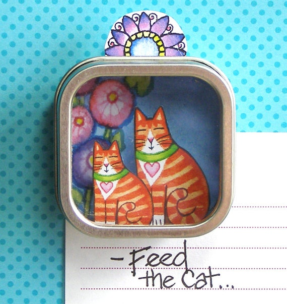 SALE... Orange Tuxedo Tabby Cat and Kitten Shadow Box Refrigerator Magnet