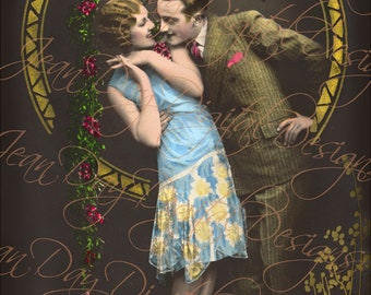 """French Art Deco Couple """"From Paris in Love"""" - Romantic French Postcard 1920's Instant Digital Download FrA127"""