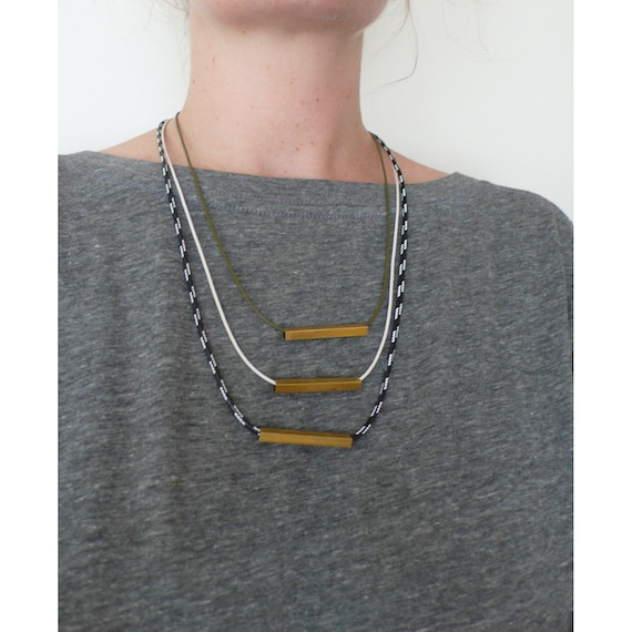 Handmade tiered cord necklace with square brass tube beads