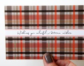 SALE Plaid Brown and Orange Fall Note Cards
