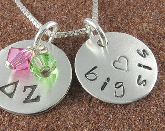 Delta Zeta Necklace, ΔΖ Sterling Silver or 14K Gold Filled Βig Sis,Lil Sis Pendant,ΔΖ Bid Day,Initiation/OLP