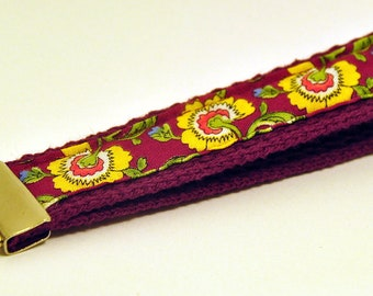 1 inch Burgundy Wristlet with Yellow Flowered Motif Fabric