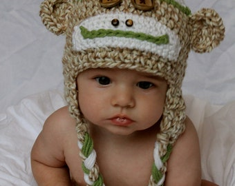 Boys Sock Monkey Hat with Top Pom Pom - Green or Blue with Tan - Sizes Newborn to Adult