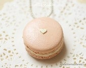 Food Jewelry - Barely There Pink  Macaron Necklace