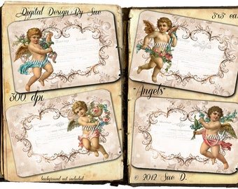 Instant Download Angels - High quality digital sheet - Printable Download  - Hang Tags - One of a Kind