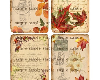 Instant Download - Fall Time - 3 X 5  -  Collage Sheet - Printable Download - Gift Tags - Scrapbook