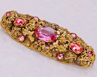 Ornate Art Deco, Czech Pink & Mauve,Rhinestone Filigree Brooch/Pin,Spring Summer Jewellery,Gift For Her,1920s