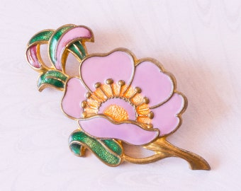 Art Deco Mauve/Pink Enamel Poppy Flower Brooch,1920's ,Spring,Summer Jewelelry,Gift For Her