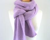 Hand-Knitted Scarf - Organic Merino Wool - Long, Cosy, Soft, Warm - purple, pink, green