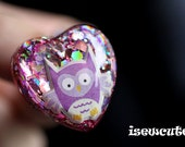 Glitter ring, owl, kawaii cute, purple, thistle, soft lavender, sparkly glitter heart, pretty twinkly ring, for her, handcrafted by isewcute
