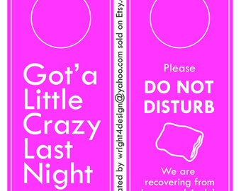 Pink Wedding, Bachelor, Bachelorette, Guest Door Hanger - Custom Made to order. DO NOT DISTURB.