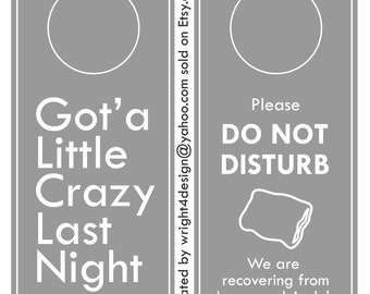 Set of 10 - Gray Grey Wedding, Bachelor, Bachelorette, Guest Door Hangers - Custom Made to order. DO NOT DISTURB.