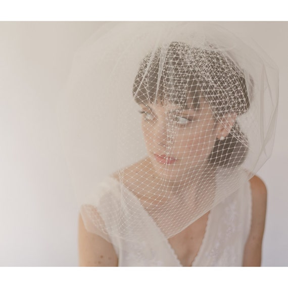 Bridal veil, birdcage veil, wedding veil, double blusher veil, hair, headpiece. style 820