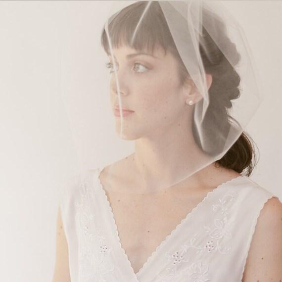 """Bridal birdcage veil,  blusher veil, wedding veil 16"""" full veil, Style 821"""