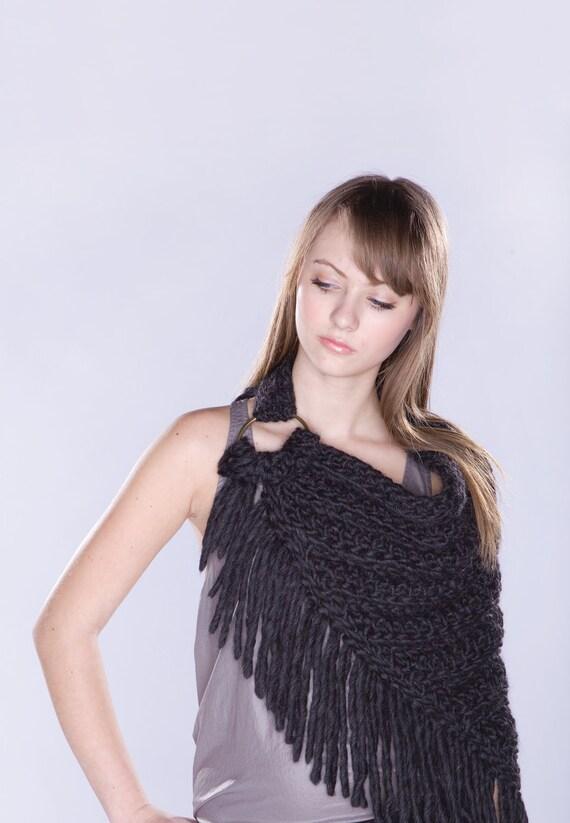 SALE - Spratters & Jayne Kerchief Bib Cowl Scarf With Rings, poncho,  crochet, heavy knit - Ready to Ship